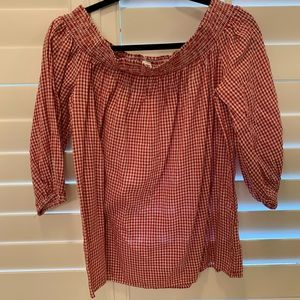 Red white gingham top